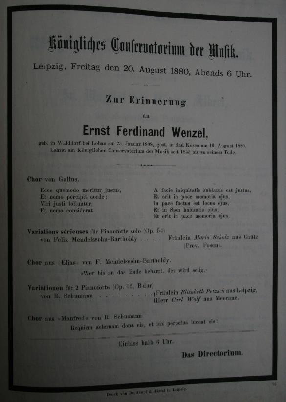 Konzert zur Erinnerung an Ernst Ferdinand Wenzel