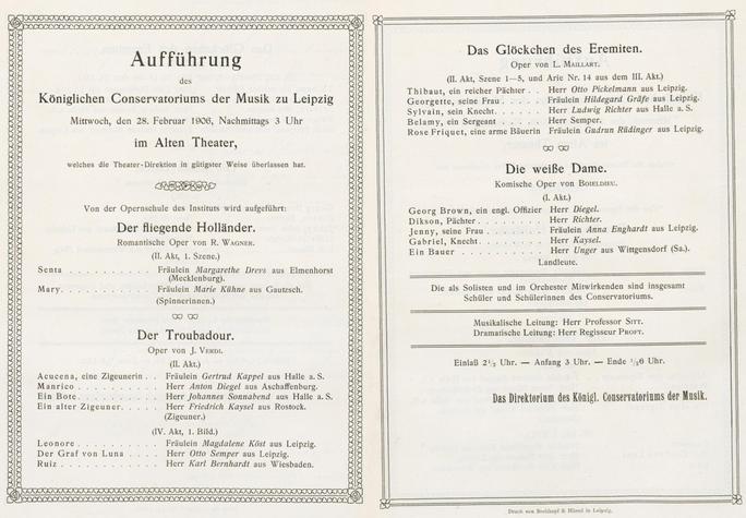 Aufführung der Opernschule Auszüge aus vier Opern