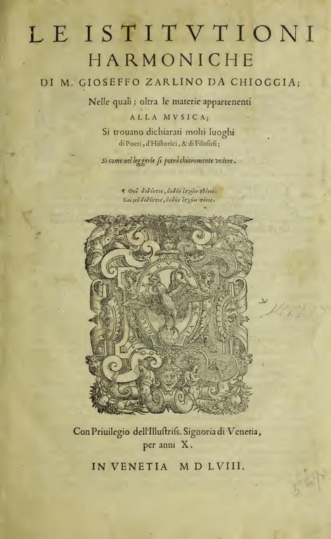 Gioseffo ZarlinoLe istitutioni harmoniche Übersetzt von Christoph HohlfeldRevidiert von Daniela v. AretinHerausgegeben von Markus Engelhardt (Rom) und Christoph Hust (Leipzig)