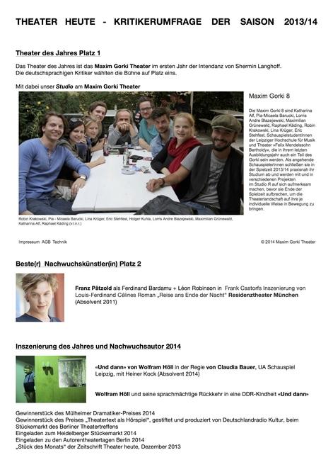 THEATER HEUTEKRITIKERUMFRAGE DER SAISON 2013/14 ergab Erwähnungen für folgende Absolventen des Schauspielinstituts:
